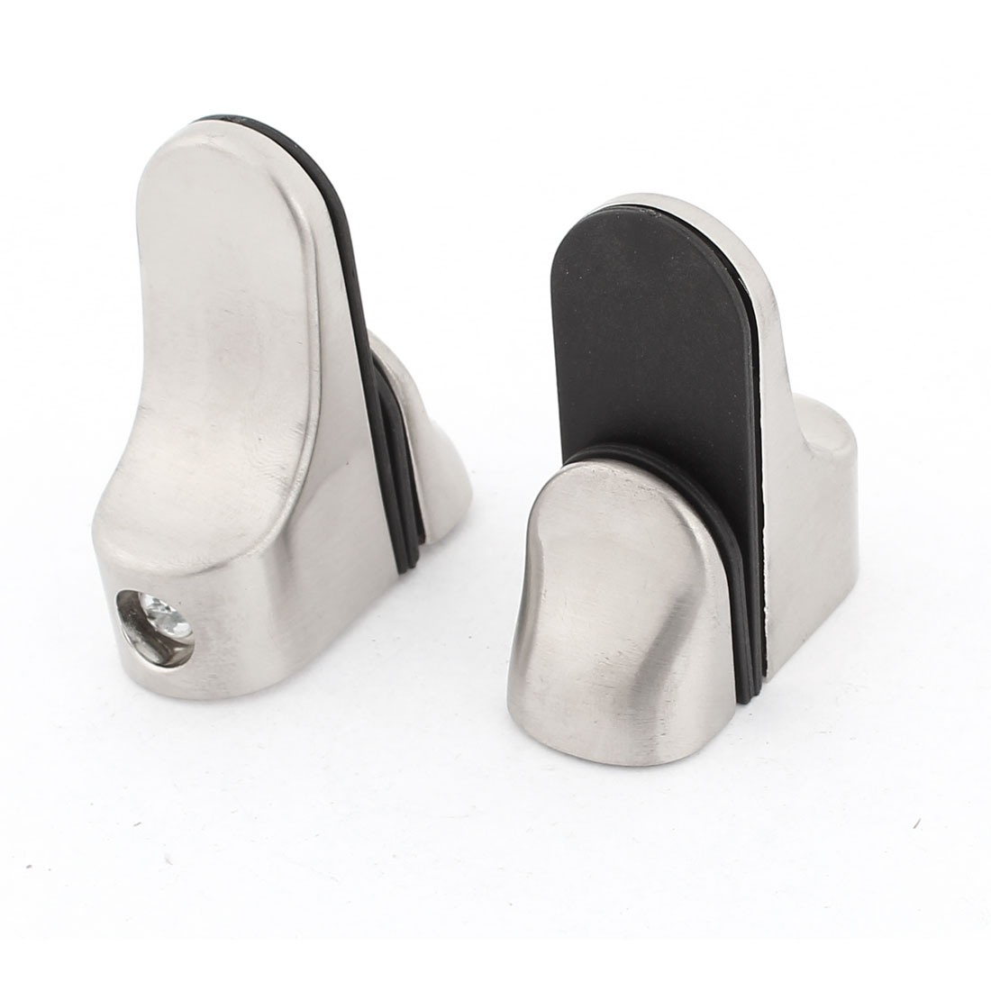18mm Thickness Glass Window Shelf Clip Clamp Support Silver Tone 2 Pcs