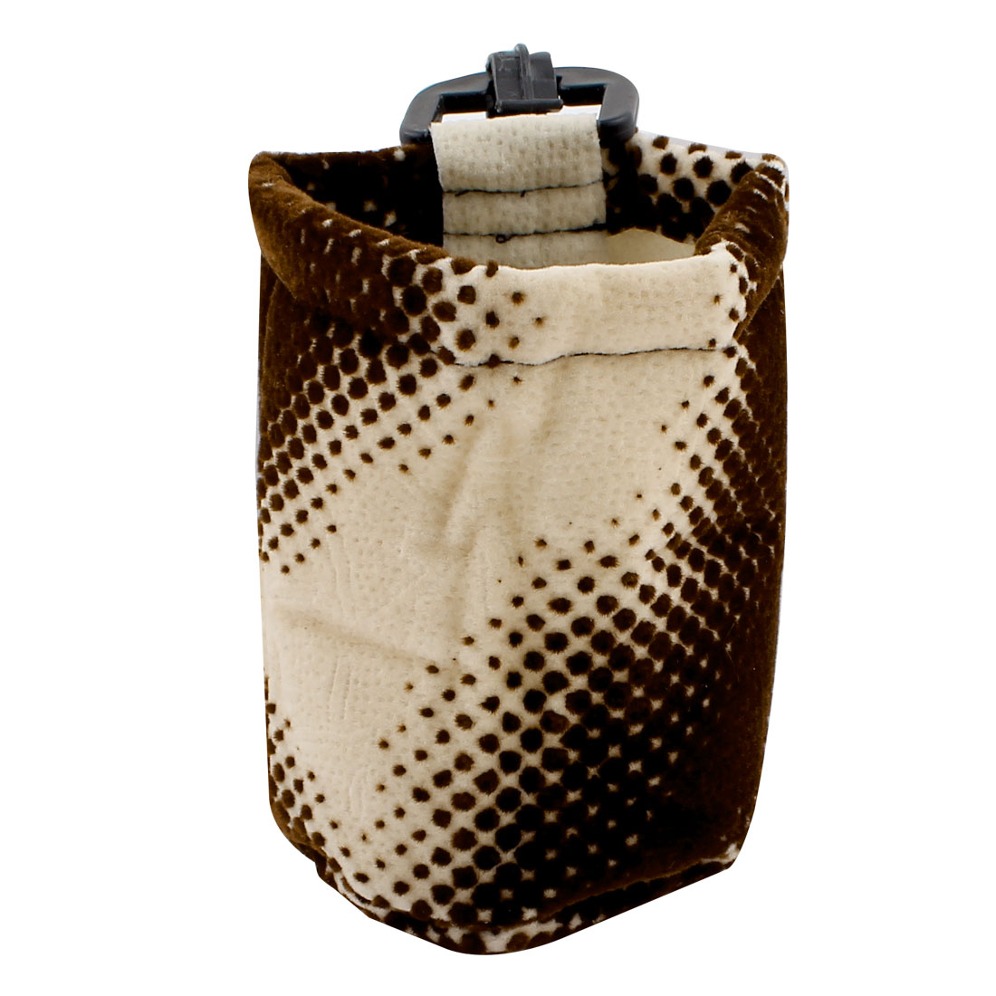 Beige Brown Flannel Cylinder Shape Mobile Phone Pouch Holder Pocket for Car