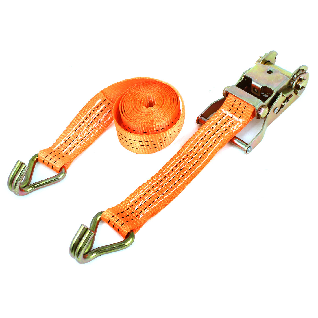"Packages Goods Fixed Belt Dual J Hooks Ratchet Tie Down Strap 8.2ftx1.5"" Orange"