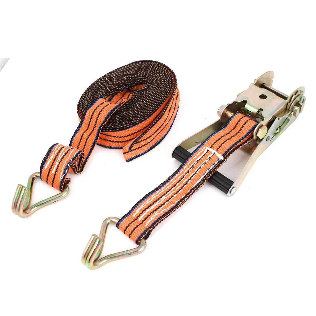 Ratchet Ratcheting Tie Down Strap Cargo Tow Rope Orange Black 8mx40mm
