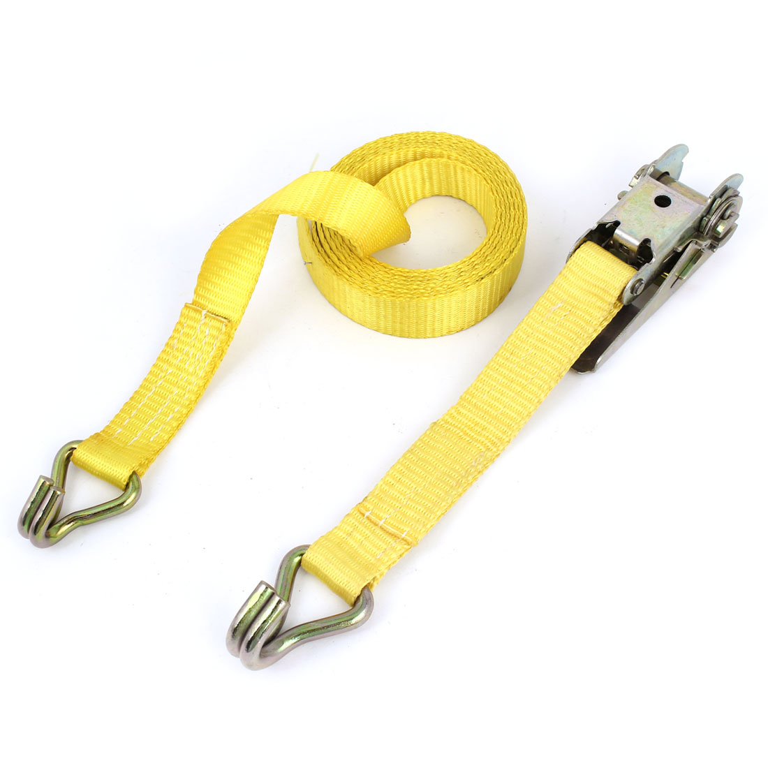 "Yellow 10ft x 1"" 1500 lbs Load Limit Double J-Hooks Ratcheting Tie-Down Strap"