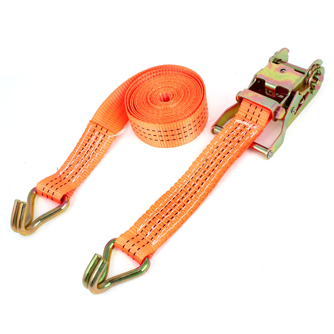 Luggage Cargo Binding Metal J Hooks Ratchet Tie Down Strap 3.5M 11ft Orange
