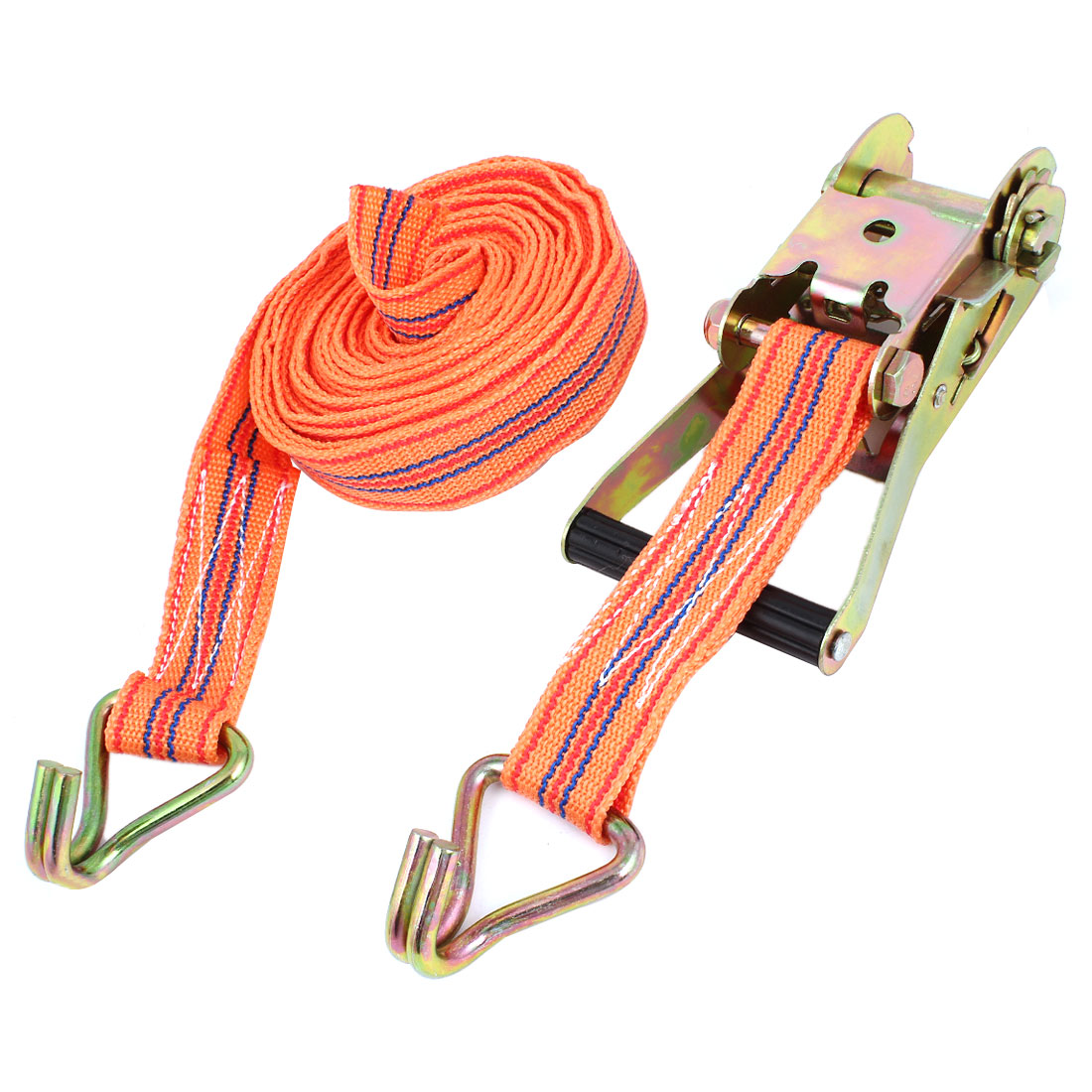 Truck Cargo Binding Metal Hook Ratchet Tie Down Strap 8M 26ft Orange