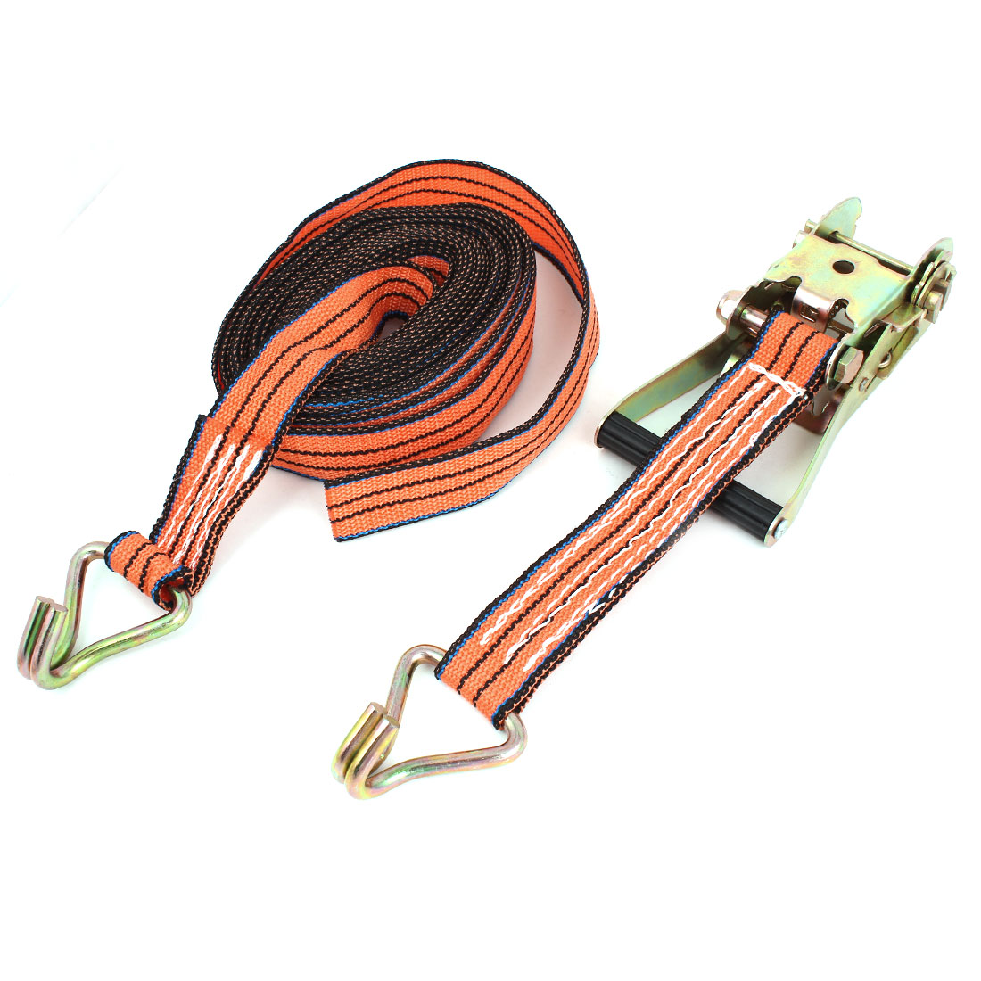 10M x 40mm Double J Hooks Ratchet Tie Down Strap Rope Orange Black