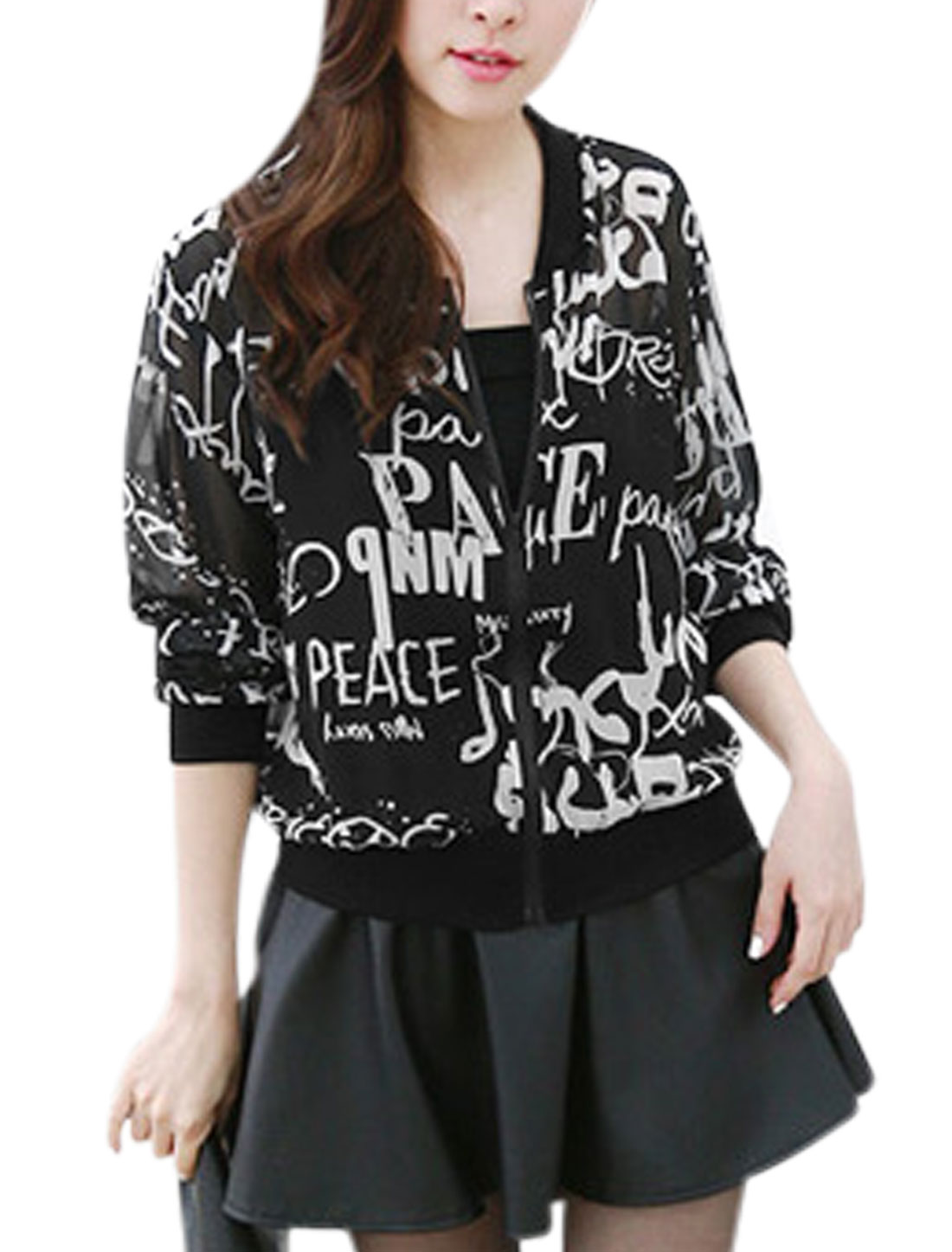 Women Stand Collar Long Sleeves Letters Prints Chiffon Jacket Black White XS