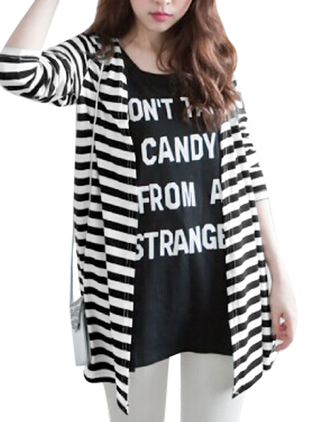 Women Long Sleeves Bar Striped Buttonless Leisure Trench Cardigan Black White XS