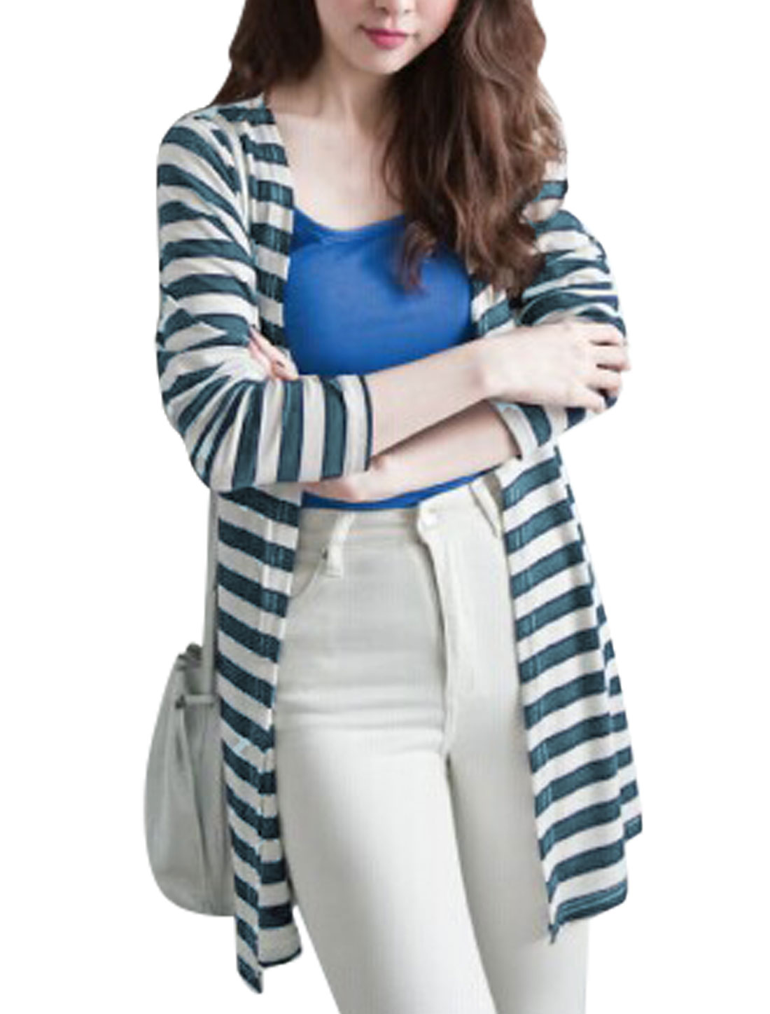 Ladies Fashion Stripes Long Sleeves Front Opening Trench Cardigan