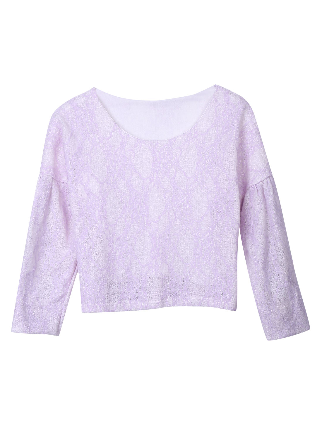Women Round Neck Long Sleeves Trendy Slipover Top Lilac S