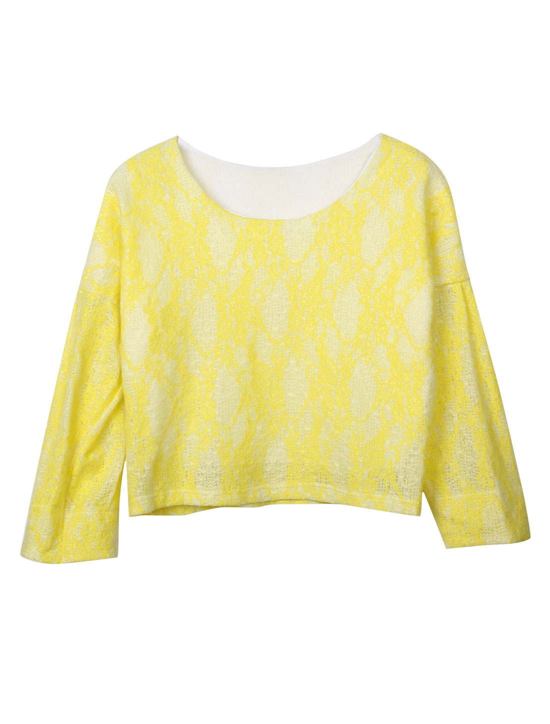 Women Round Neck Batwing Sleeves Lace Lining Casual Top Yellow S