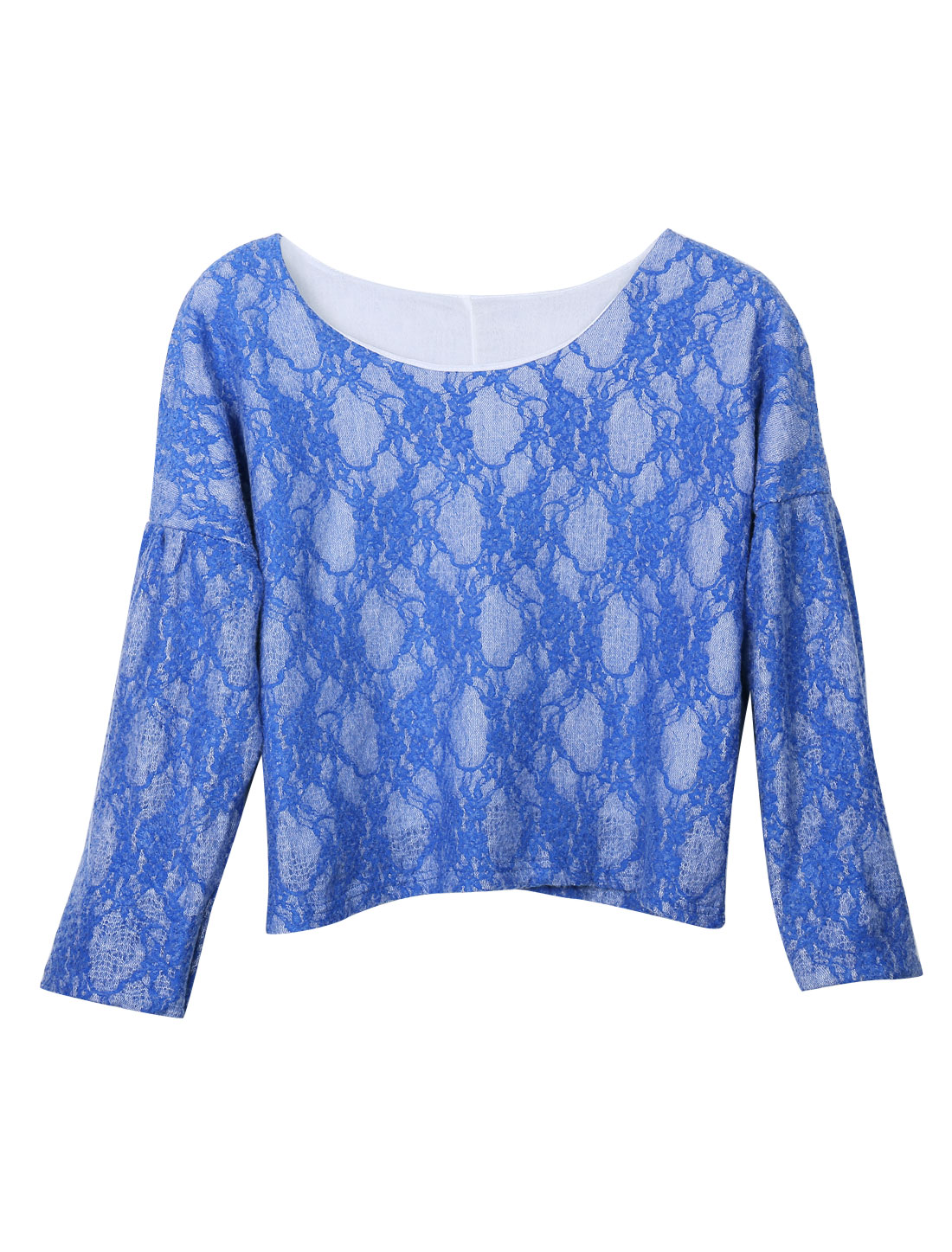 Women Round Neck Bat Sleeves Lace Lined Leisure Top Blue S
