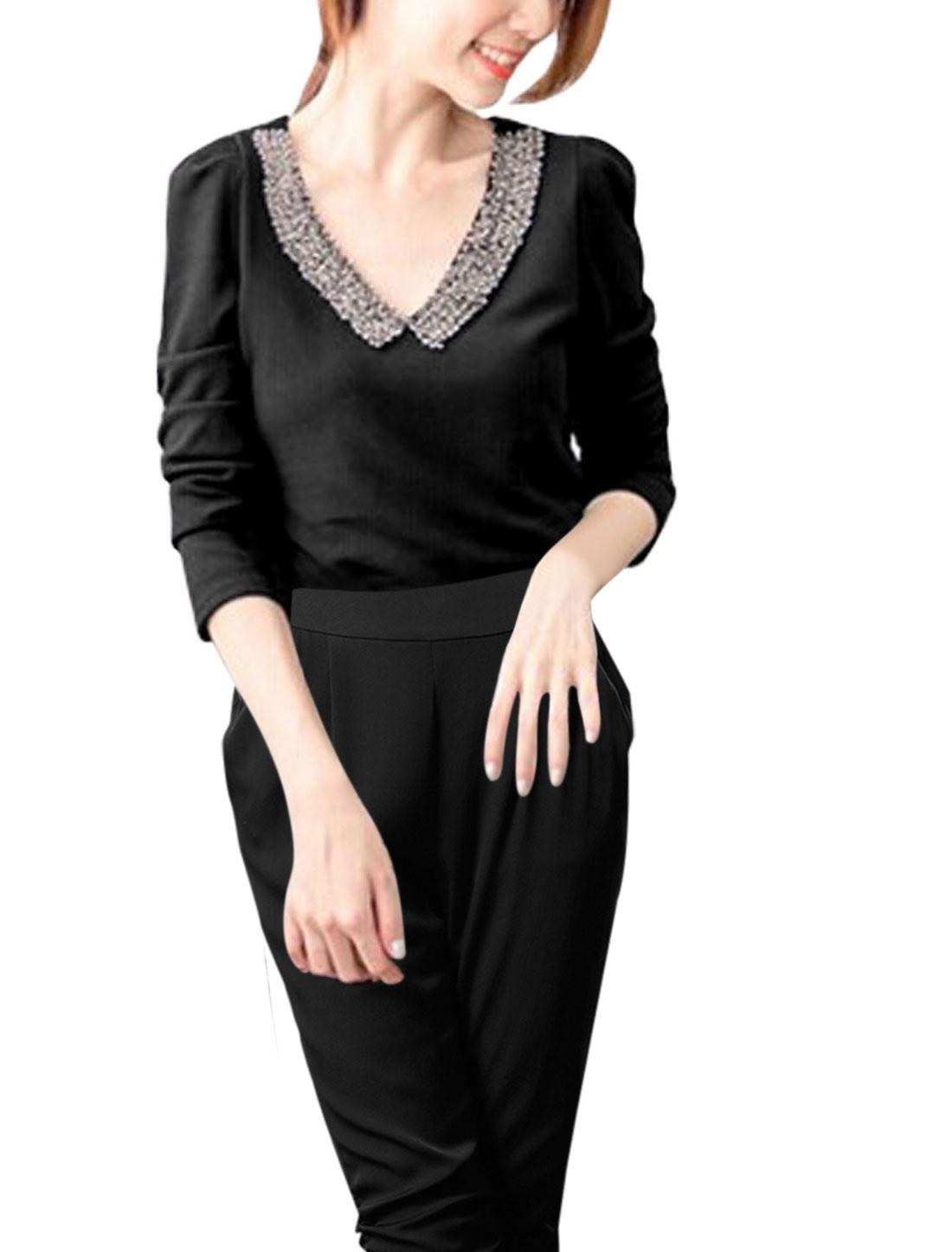 Women Beads Decor V Neck Long Sleeves Tunic Shirt Black S