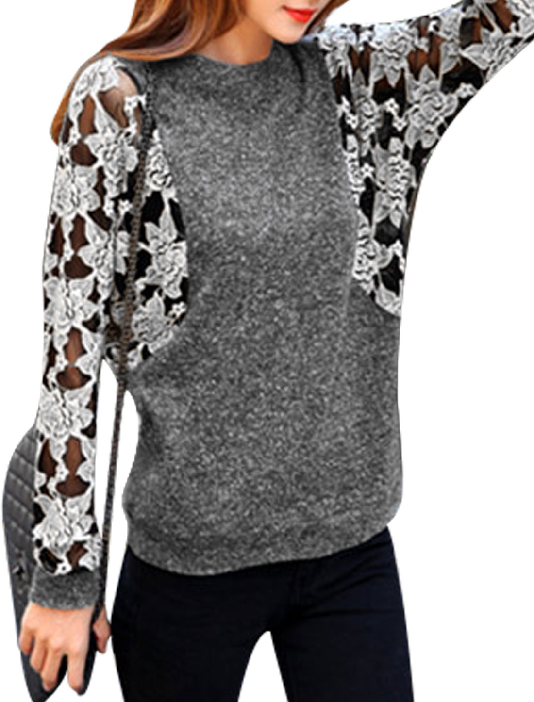 Women Bat Sleeves Floral Design Pullover Casual Knitted Top Dark Gray White S