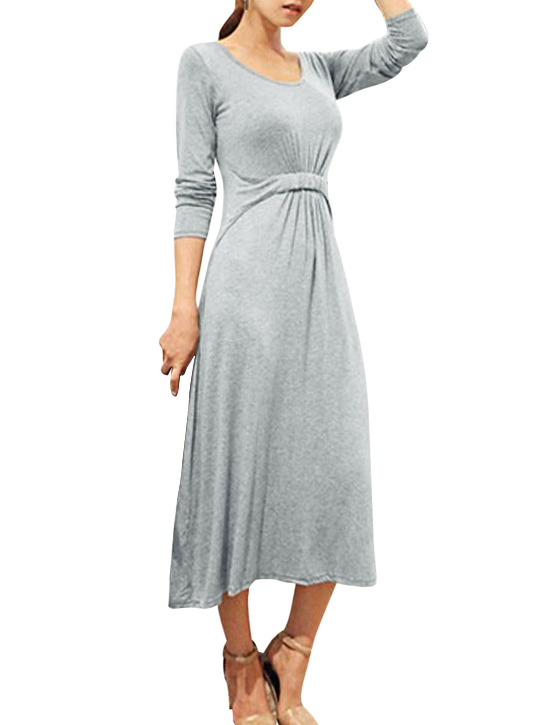 Ladies Gray Elastic Waist Long Sleeves Round Neck Unlined Dress XS