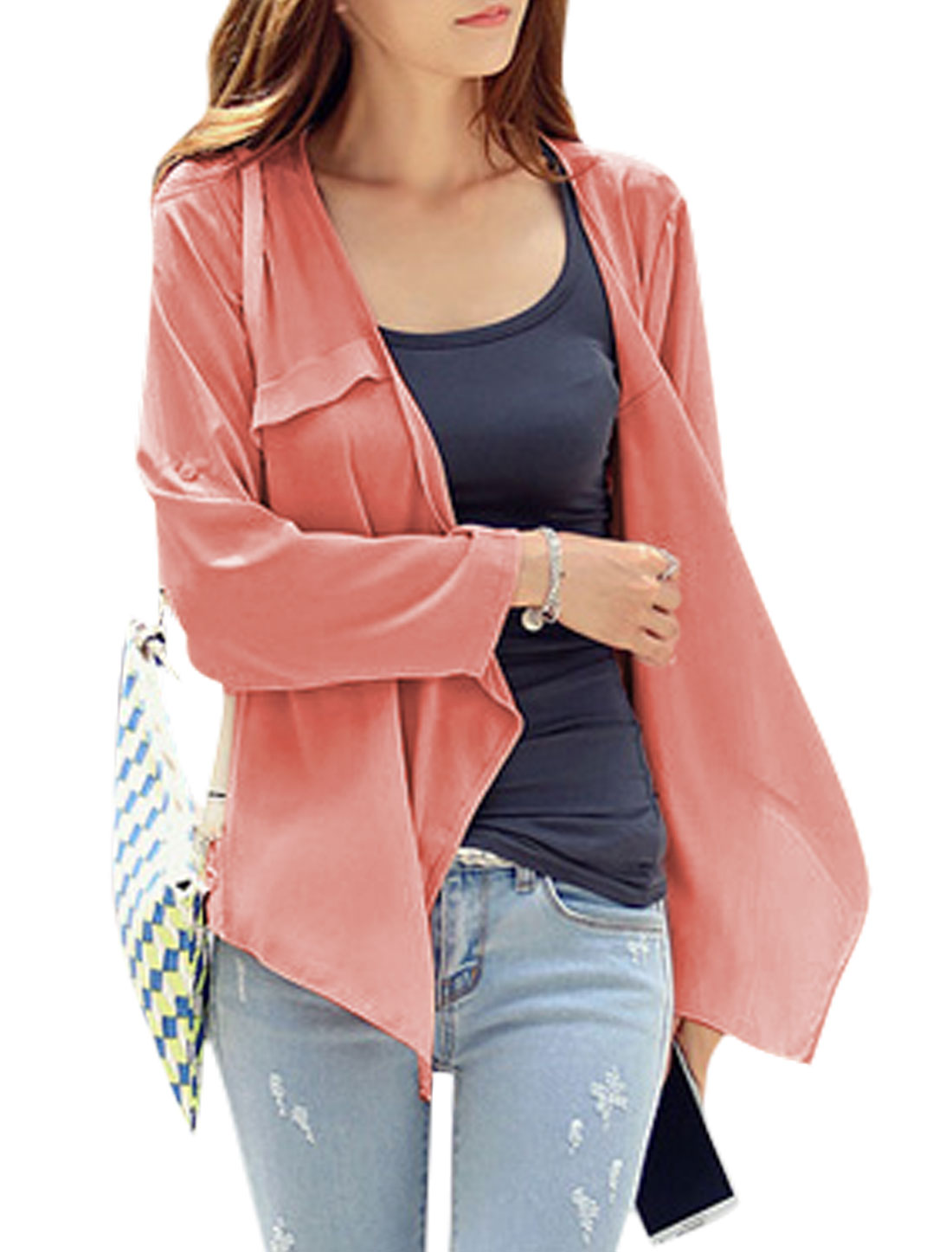 Women Buttonless Long Sleeves Draped Front Casual Chiffon Cardigan Coral S