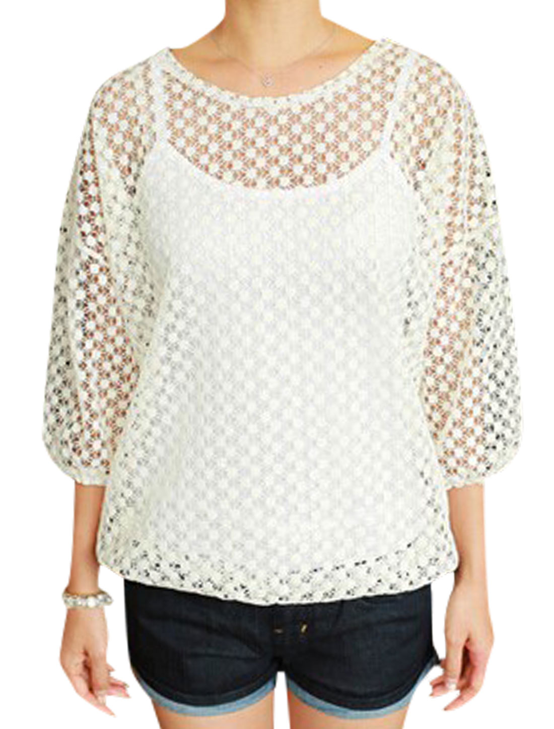 Women Round Neck Crochet 3/4 Batwing Sleeves Pullover Casual Top Beige S