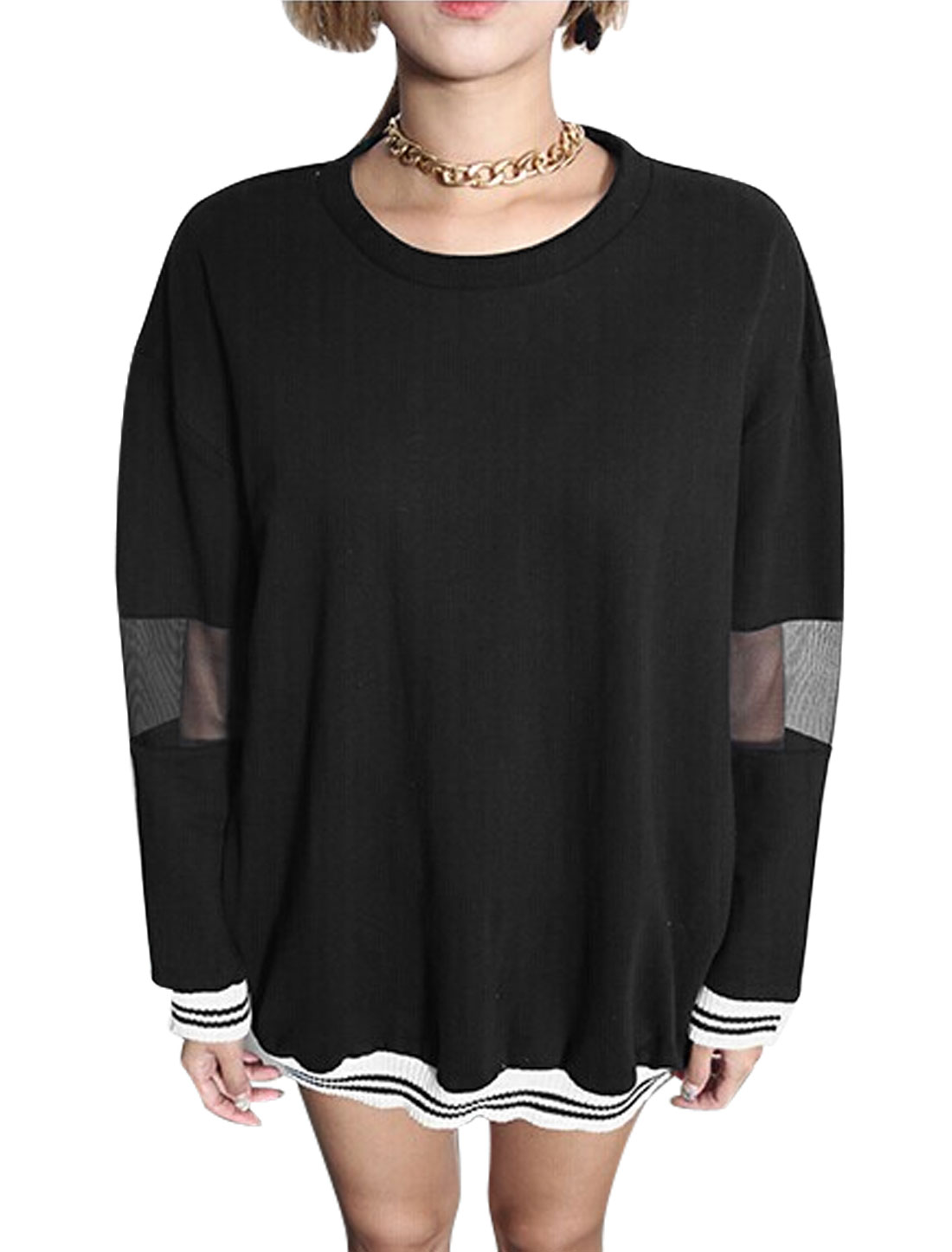 Women Round Neck Batwing Sleeves Striped Trim Pullover Tunic Blouse Black S