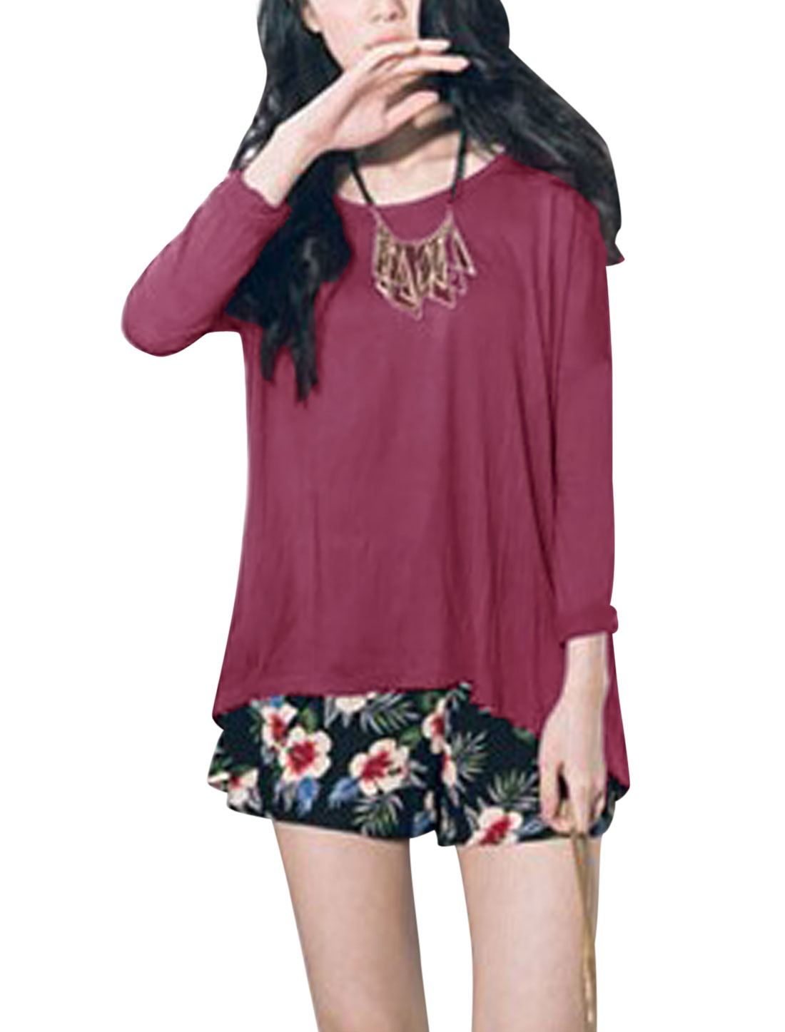 Ladies Burgundy Pullover Batwing Sleeves Irregular Hem Leisure Top XS