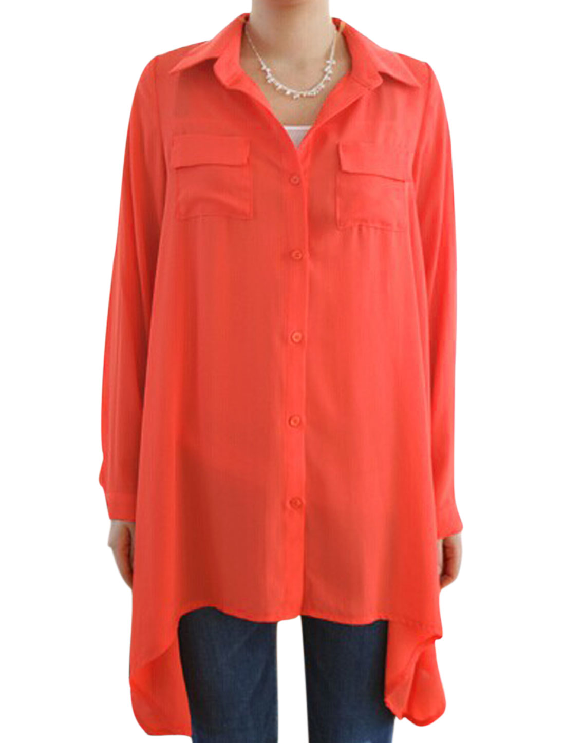 Ladies Coral Button Closure Front Pockets Asymmetric Hem Tunic Blouse S
