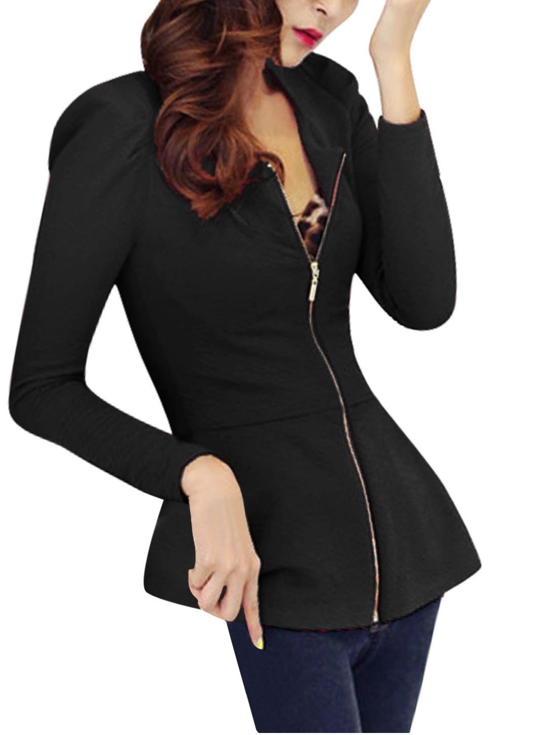 Women Round Neck Long Sleeves Zip Closure Textured Design Peplum Jacket Black M