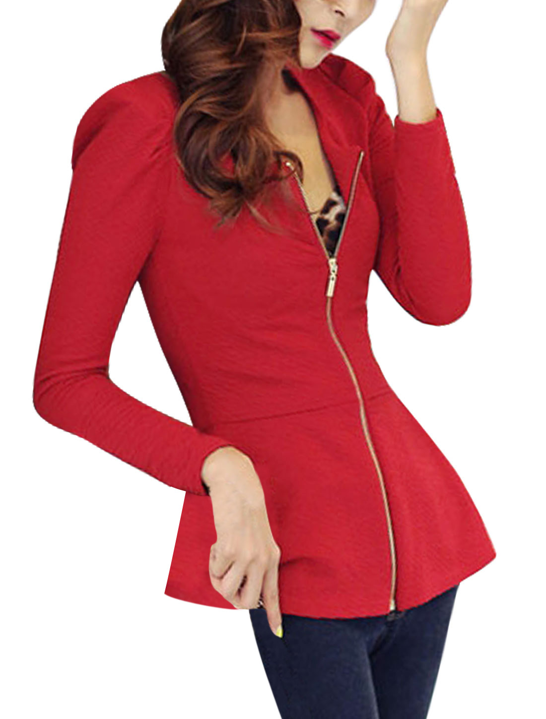 Women Puff Sleeves Textured Design Round Neck Full Zip Peplum Jacket Warm Red M