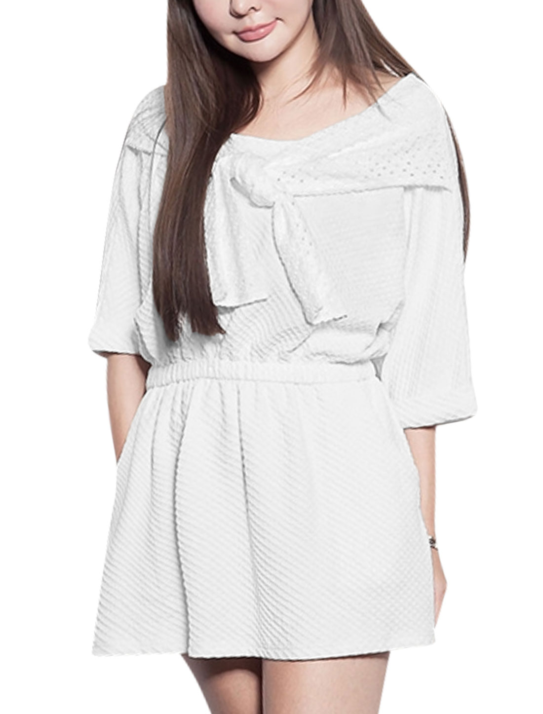 Women Round Neck Elbow Sleeves Elastic Waist Texture Design Tunic Dress White S