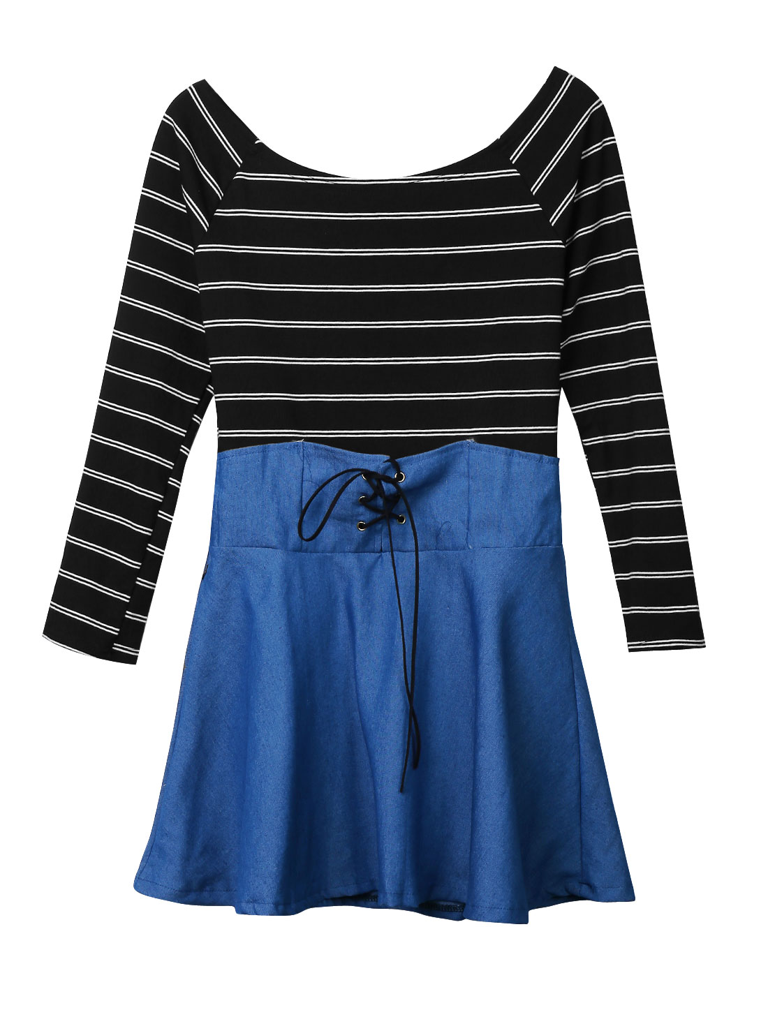 Women Boat Neck Long Sleeves Bar Striped Pullover Casual Dress Black Blue M