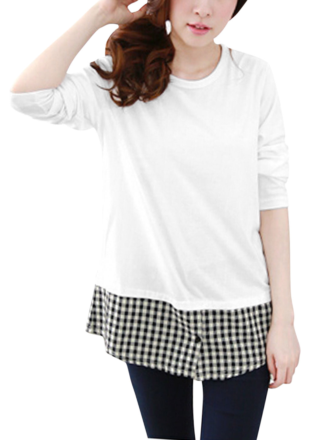 Ladies Black White Slipover Splice Plaids One Button Closure Long Sleeves Top S