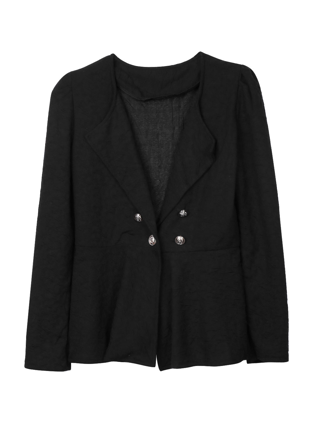 Ladies Black One Button Closure Ruffled Detail Hem Turn Down Collar Jacket S