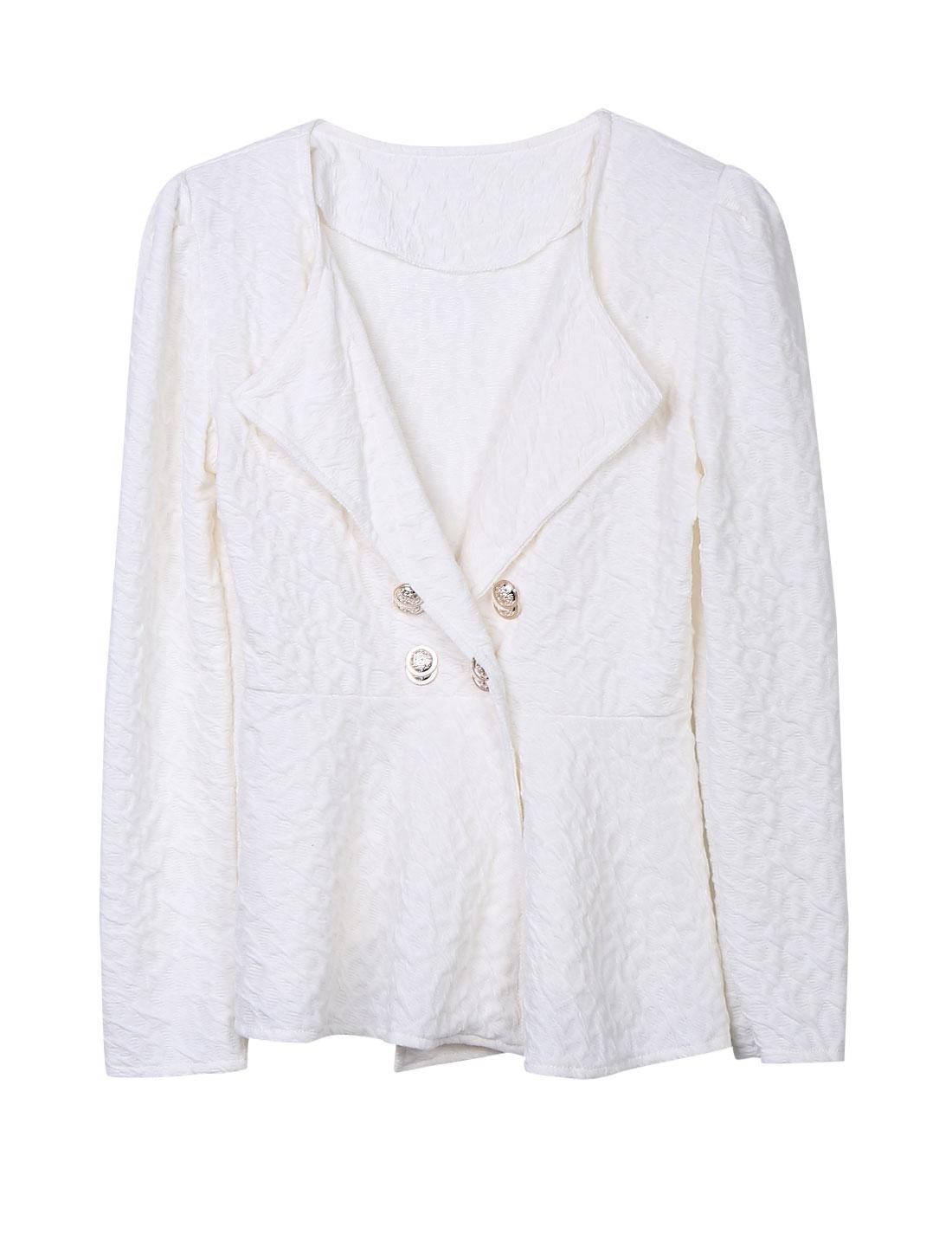 Ladies Beige Single Breasted Ruffled Detail Hem Turn Down Collar Jacket S