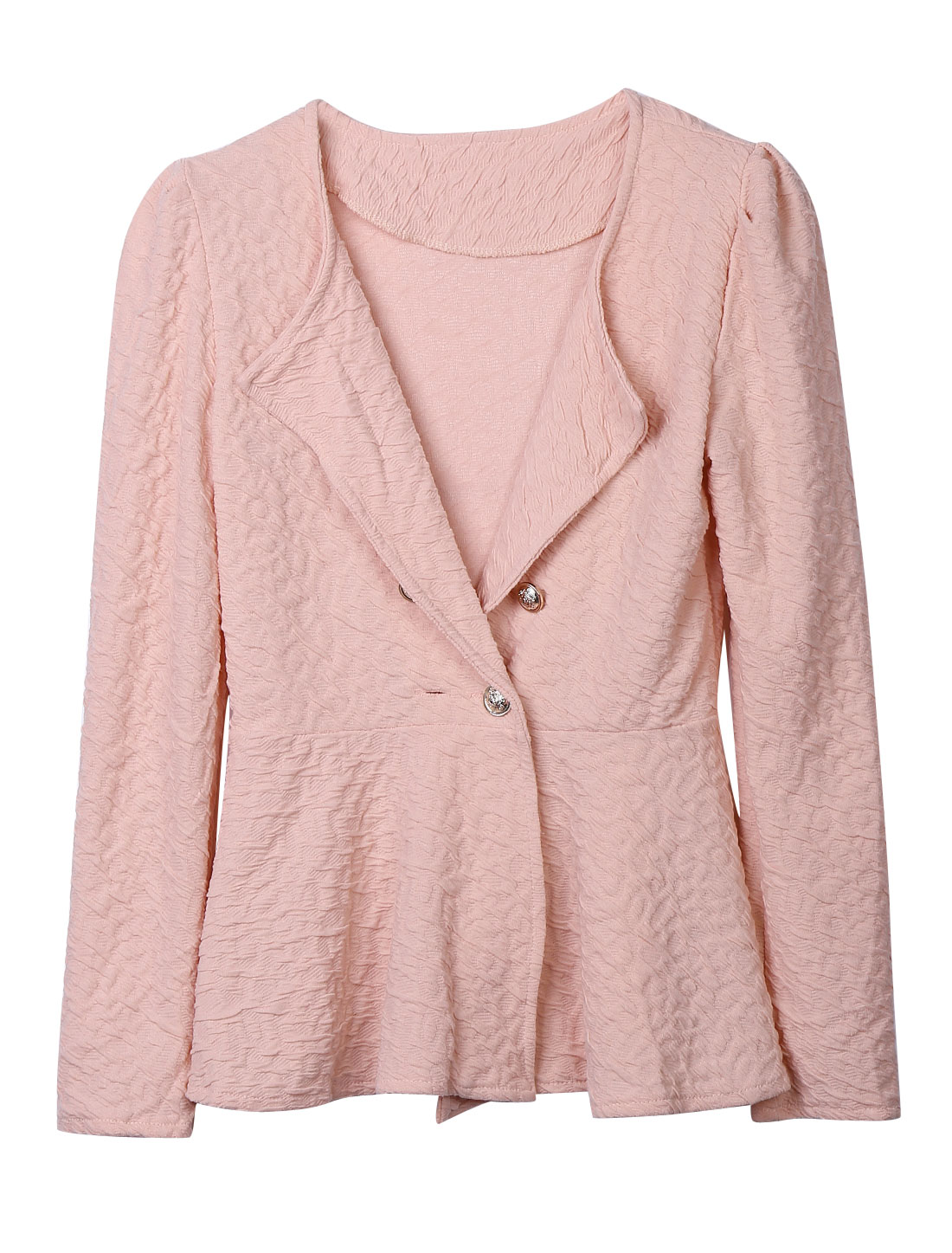 Ladies Pink One Button Closure Ruffled Detail Hem Long Sleeves Texture Jacket S