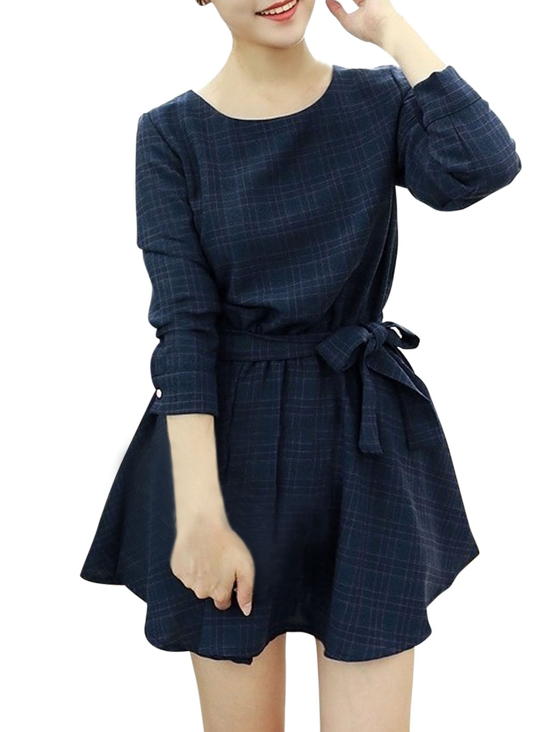 Ladies Navy Blue Plaids Front Pockets Elastic Waist Dress w Strap M
