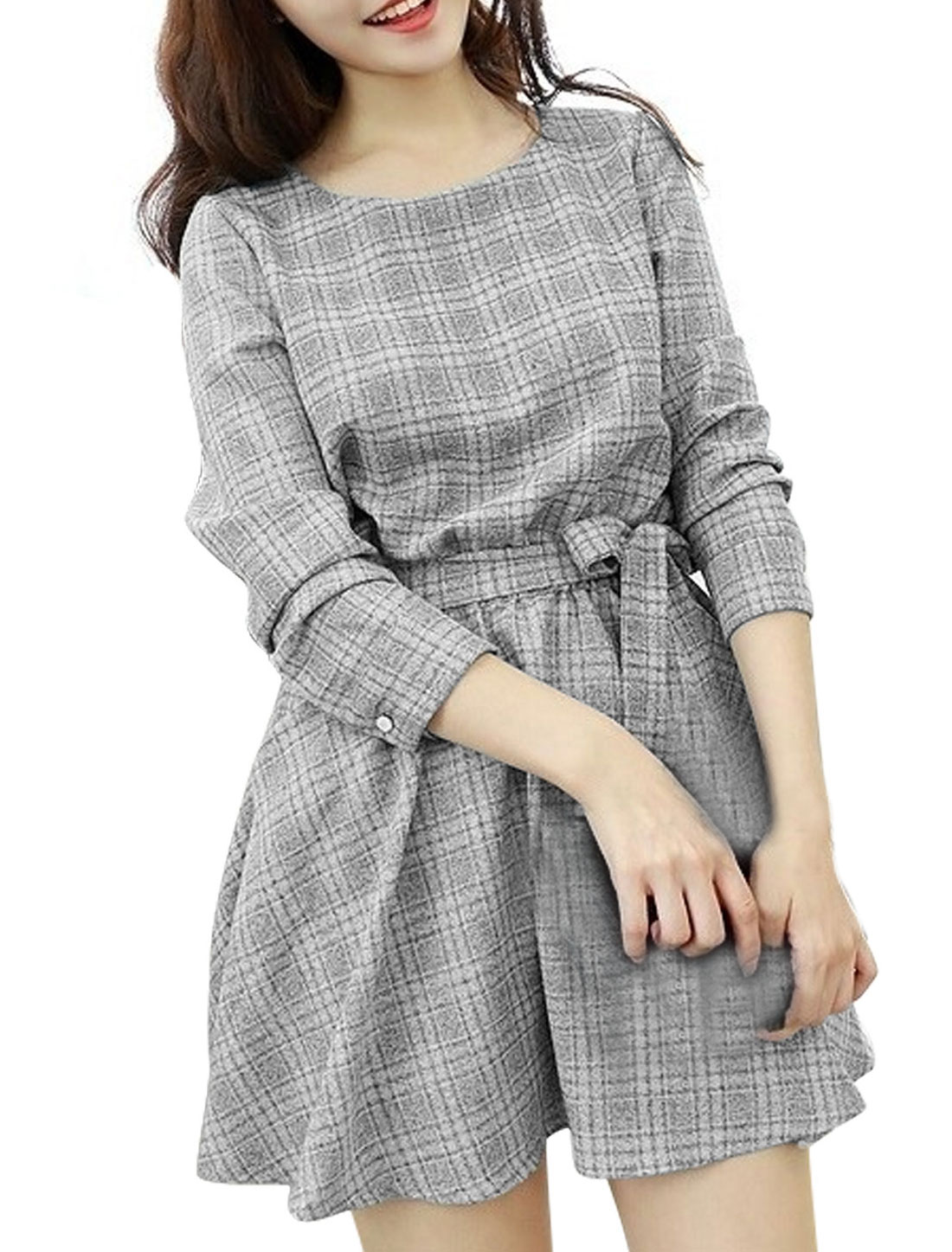 Ladies Light Gray Slipover Plaids Elastic Waist Button Cuffs Dress w Strap M