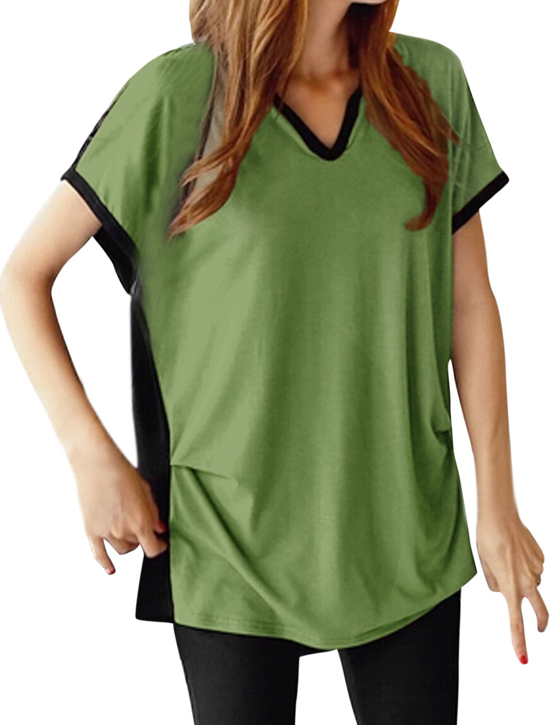 Women Turn Down Collar V Neckline Contrast Color Blouse Emerald Black XS