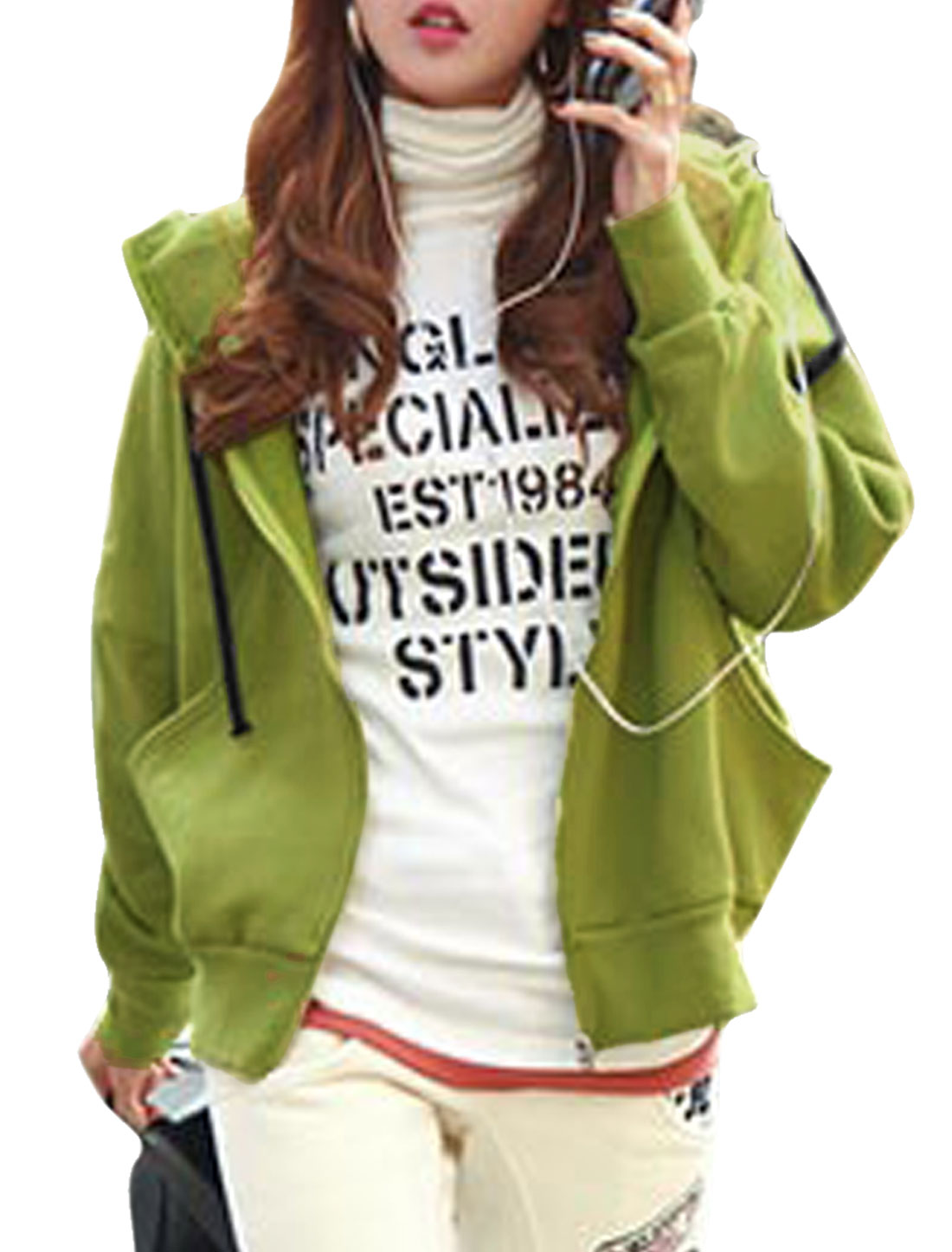 Women Batwing Sleeves Full Zip Casual Hooded Sweatshirt Olive S