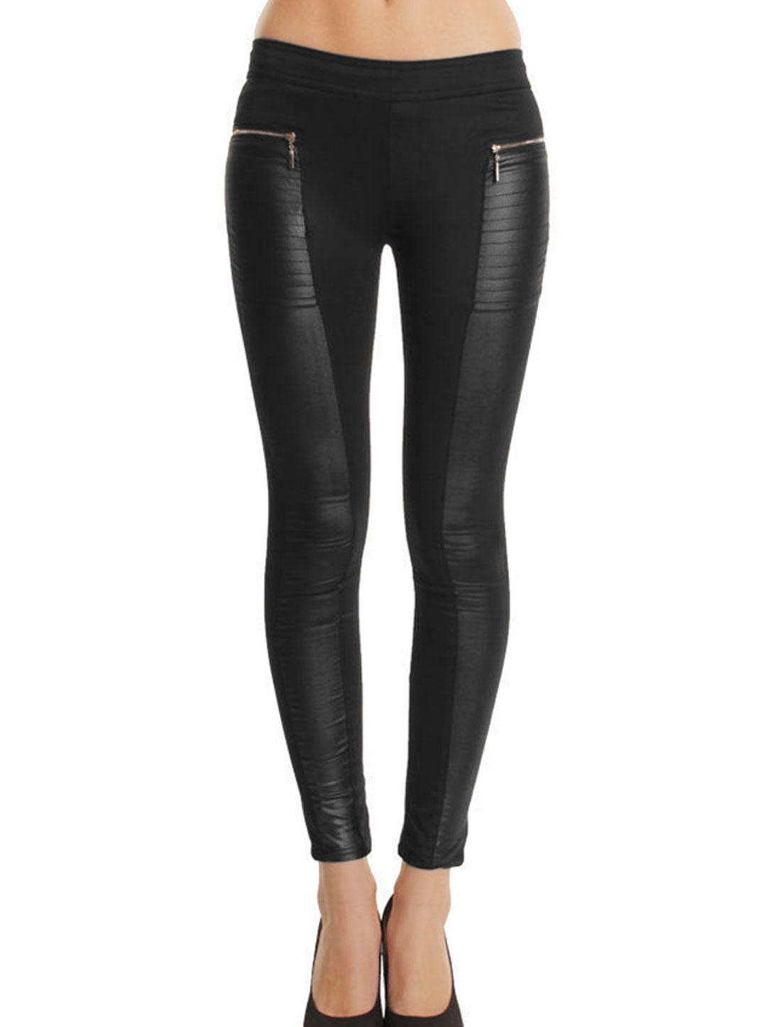 Women Elastic Waist Imitation Leather Panel Leisure Leggings Black M