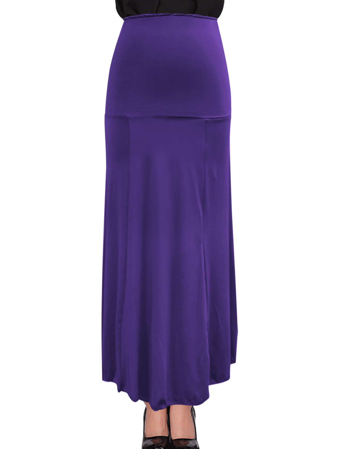 Woman Ankle Length Maxi Design Stretchy Purple Beach Skirt M