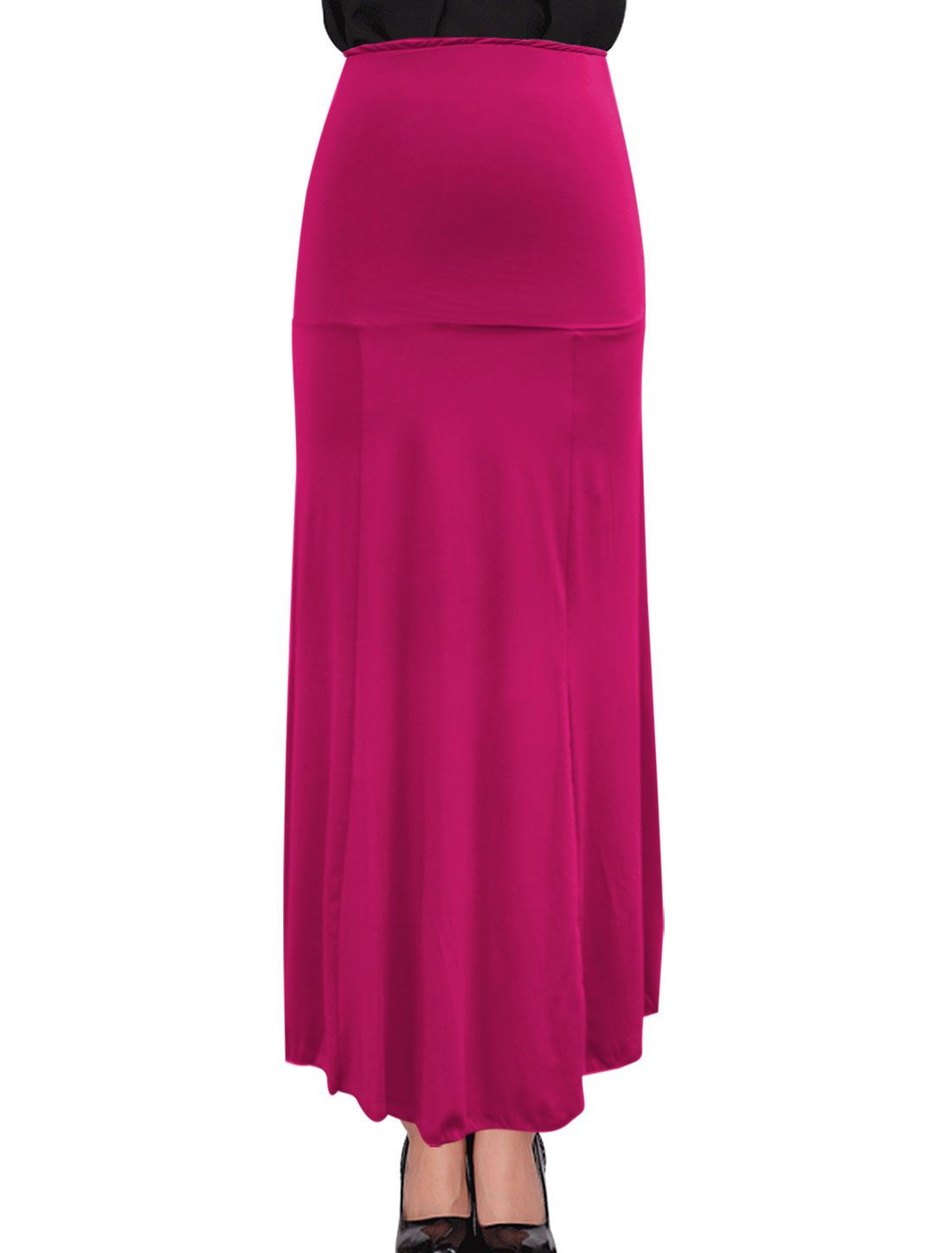 Lady Fashion Design Unlined Stretchy Wasit Fuchsia Beach Skirt M