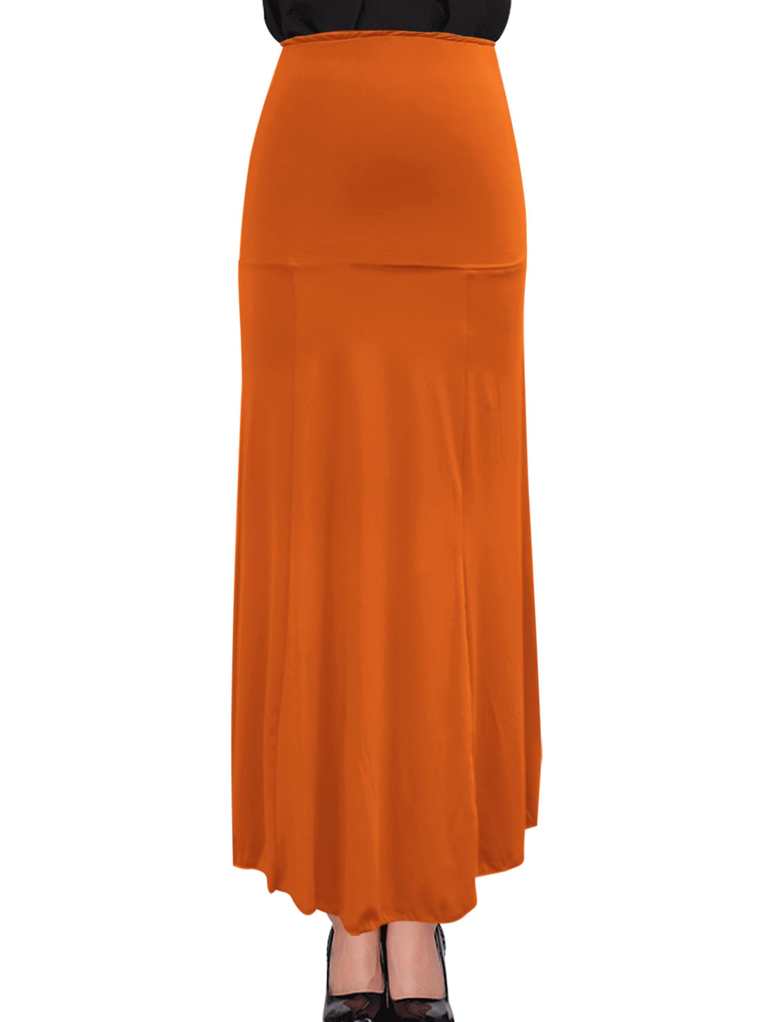 New Style Stretchy Maxi Design Orange Beach Skirt for Ladies M