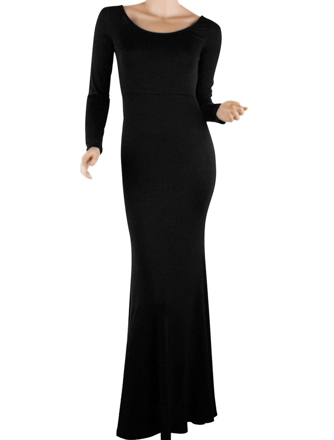 Women Scoop Neck Long Sleeves Backless Design Dress Black L