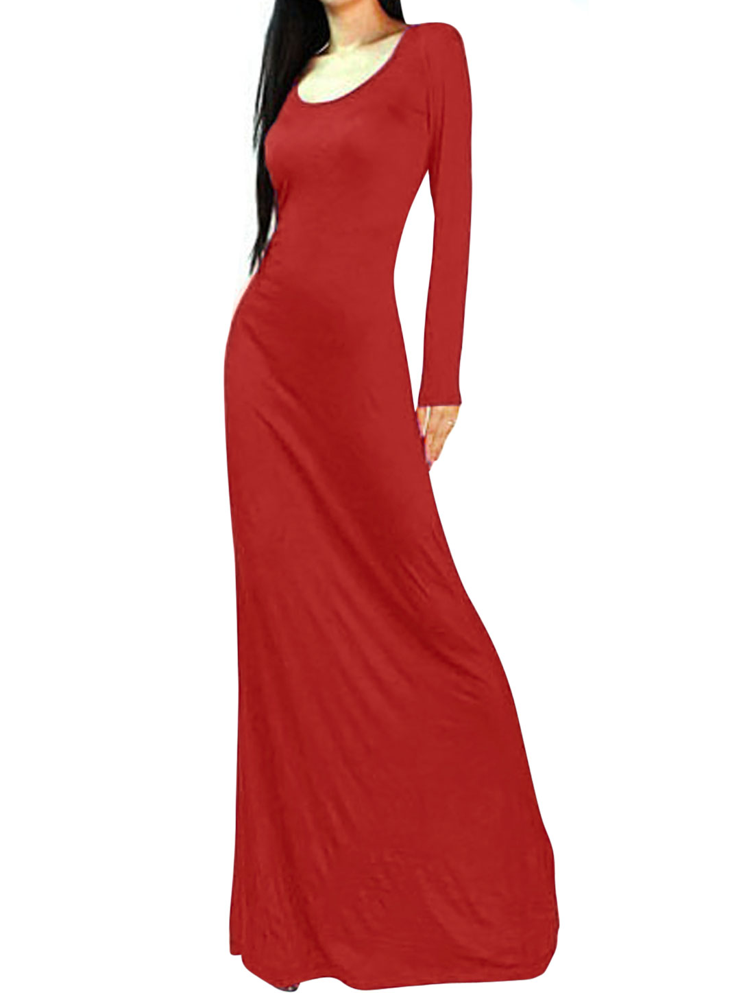 Lady Backless Design Full Sleeves Pullover Red Dress L