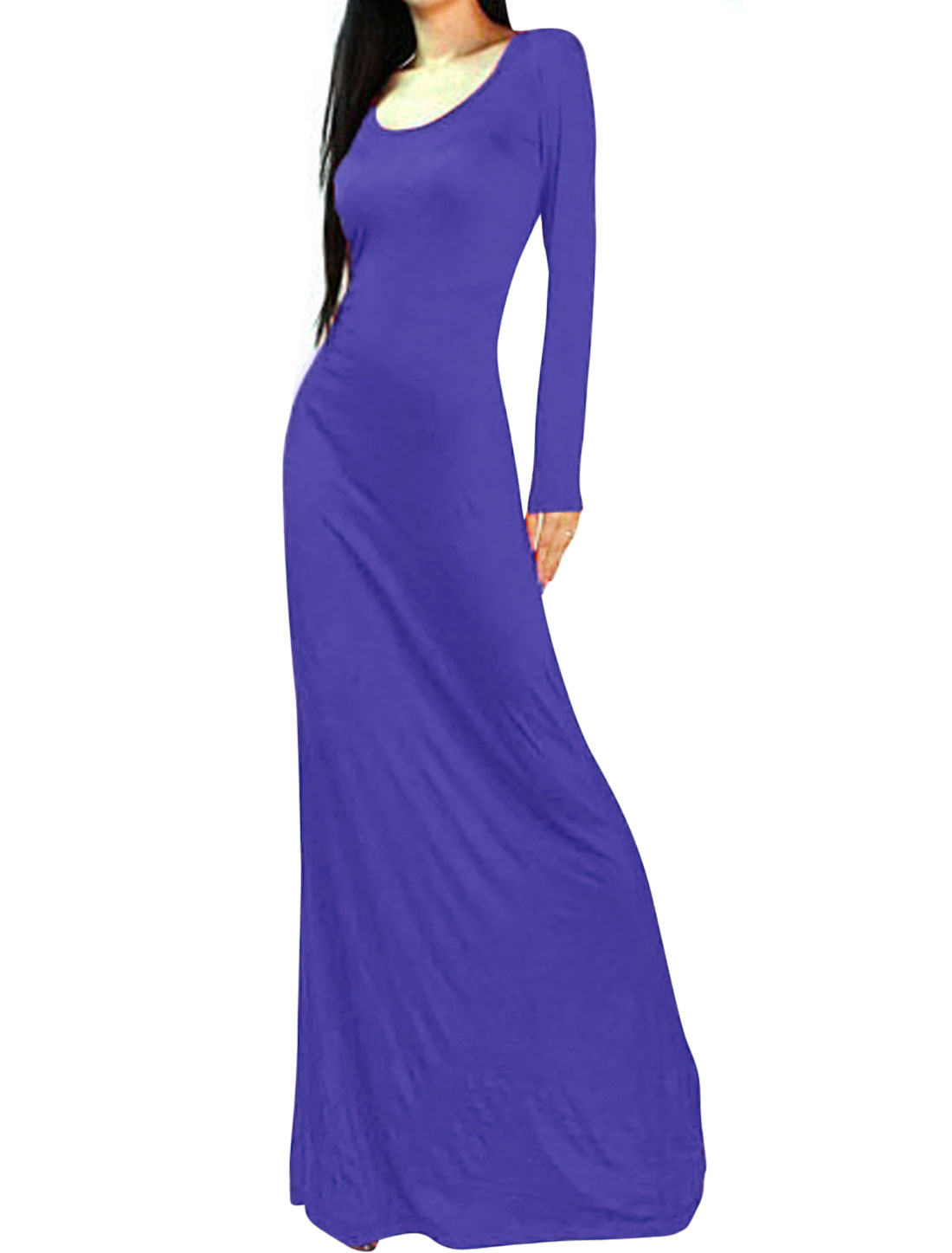 Ladies Full Sleeves Pullover Full Length Design Purple Dress L