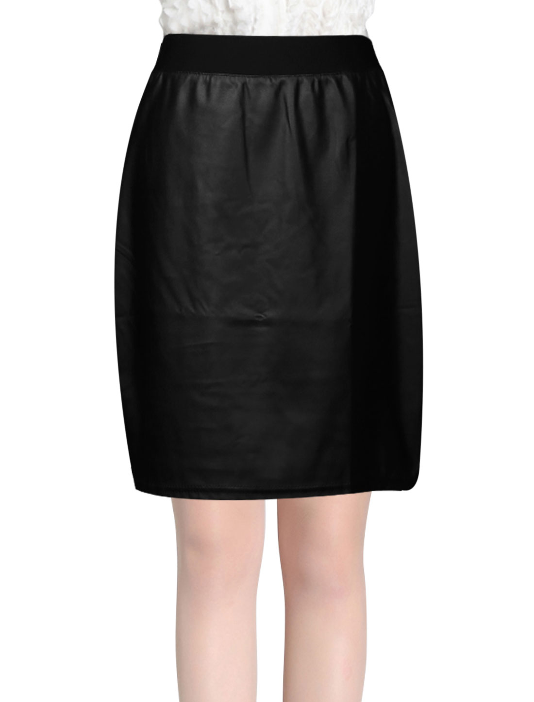 Women Elastic Waist Overhip Imitation Leather Straight Skirt Black L
