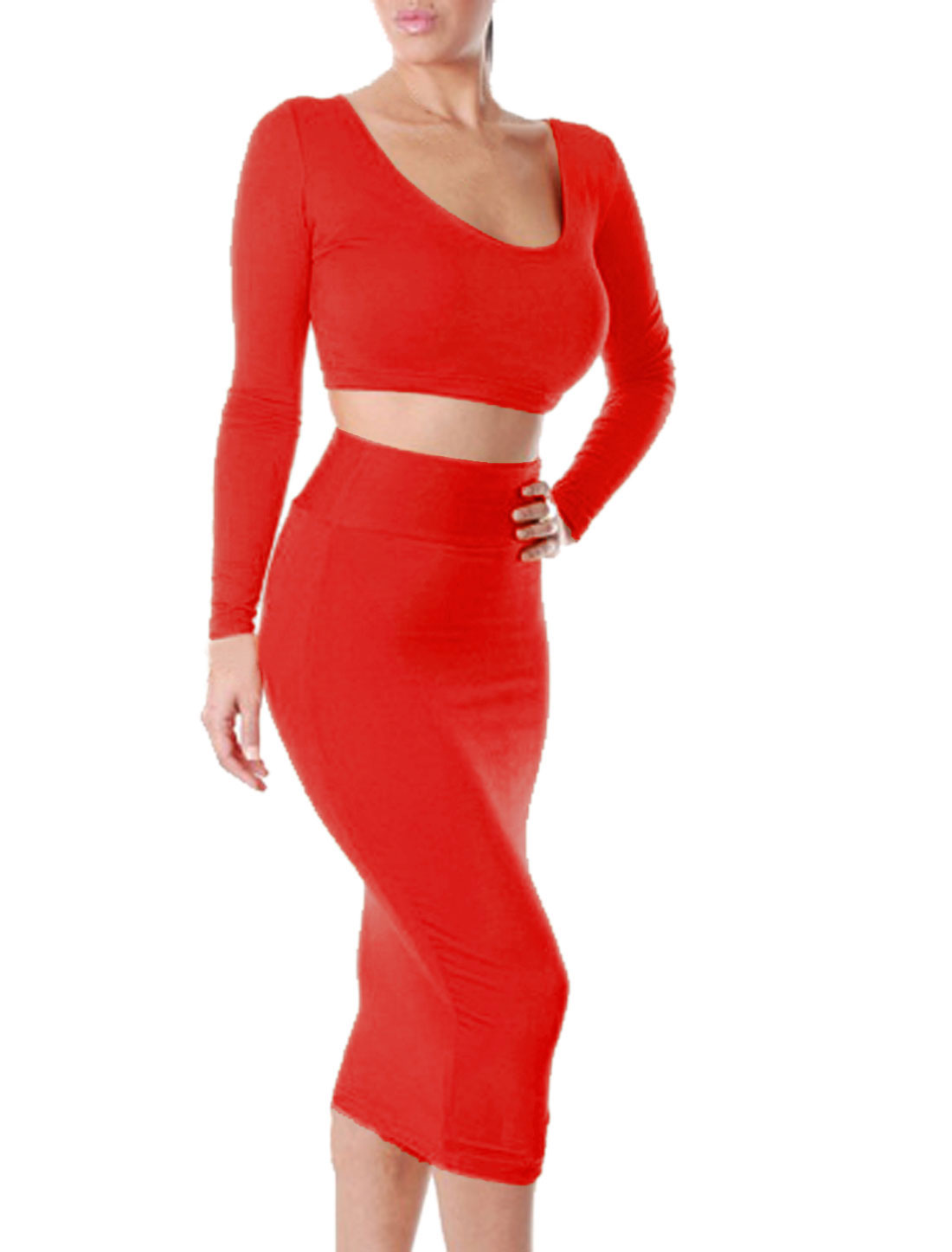 Form-fitting Belero Top w Stretchy Straight Skirt Sets for Lady Red XL