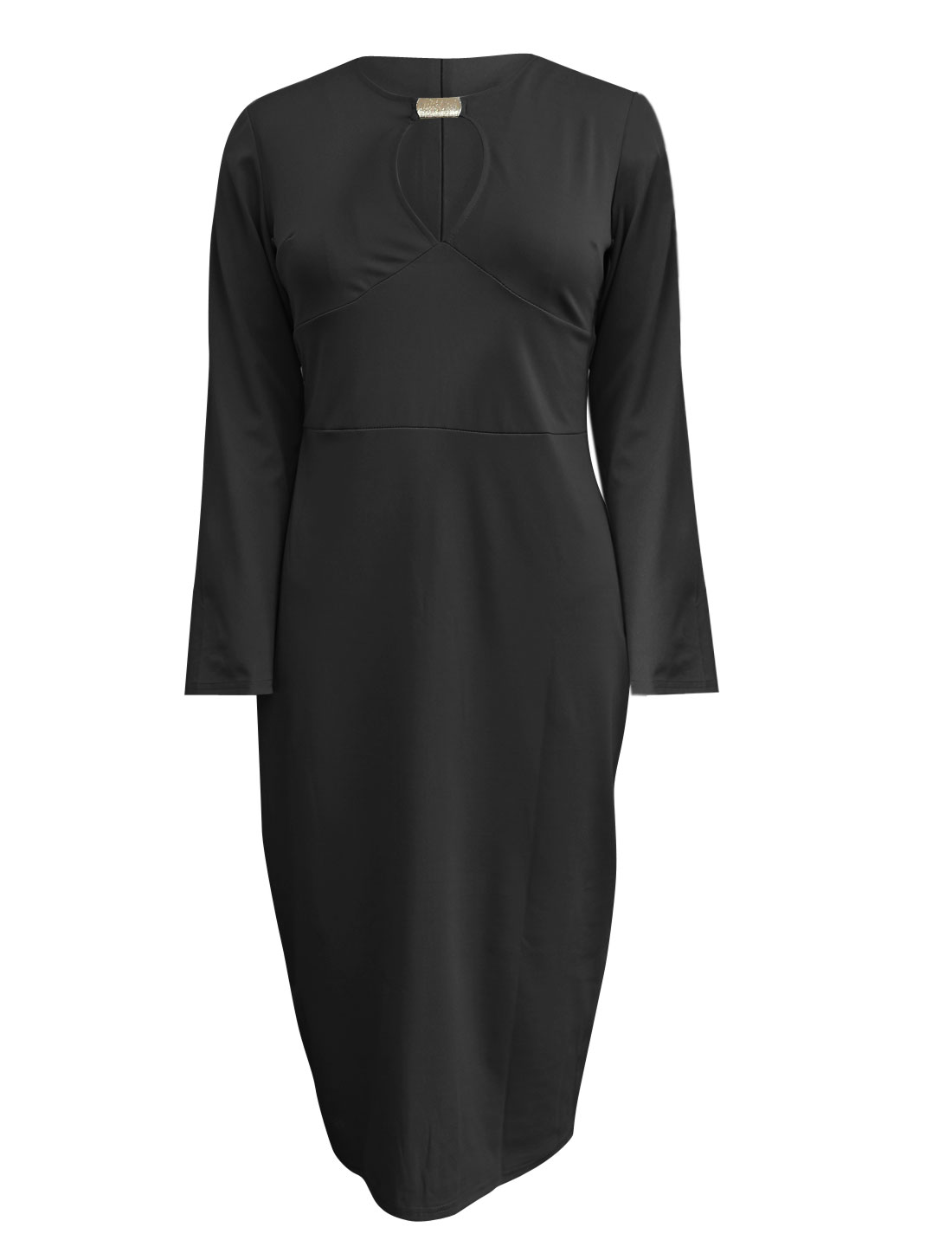 Women Round Neck Cut Out Front Long Sleeve Sheath Dress Black XL