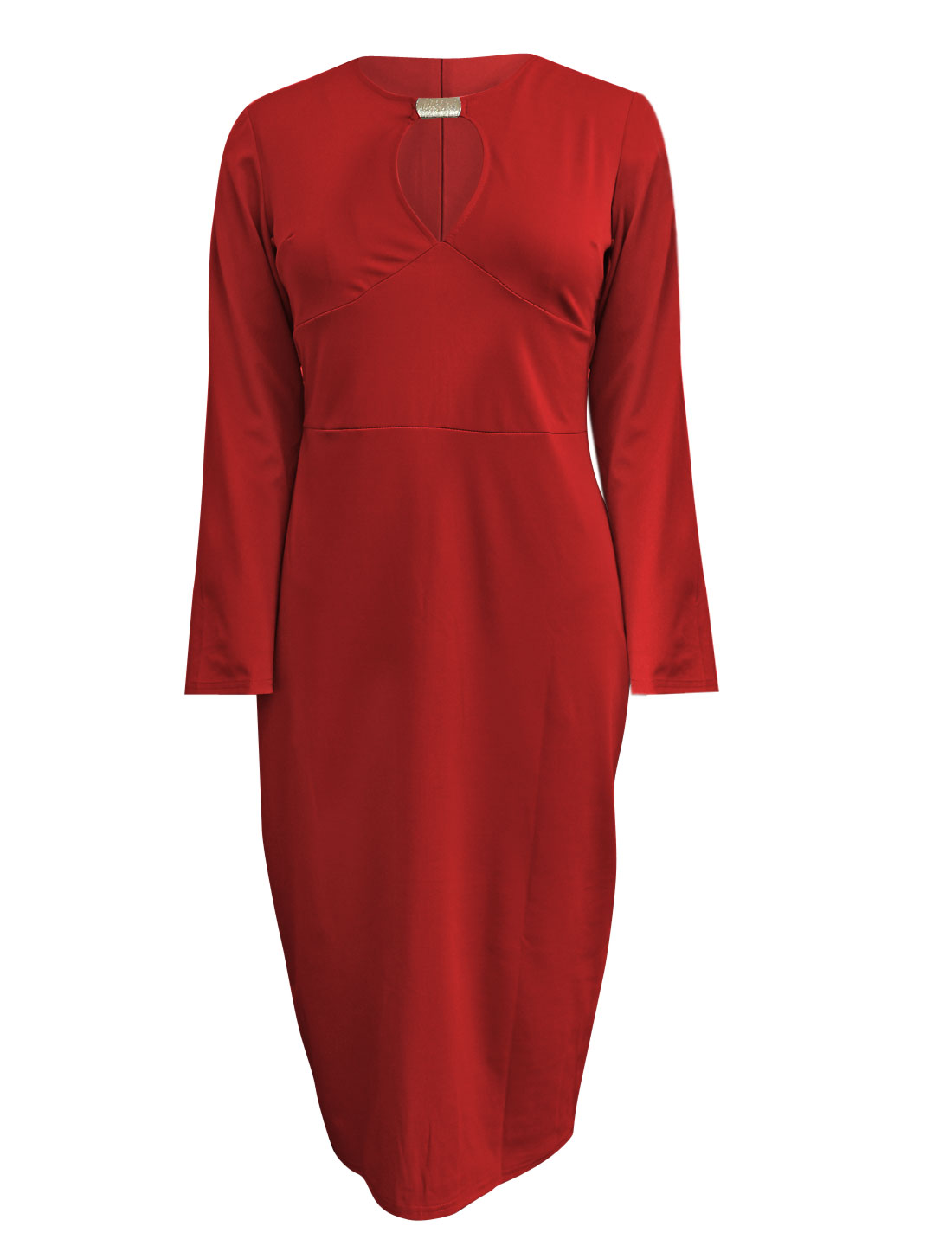 Ladies Overhip Design Long Sleeves Red Sheath Dress L