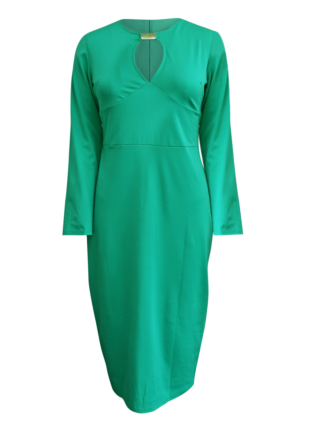 Cut Out Front Overhip Design Sexy Aqua Sheath Dress for Lady XL