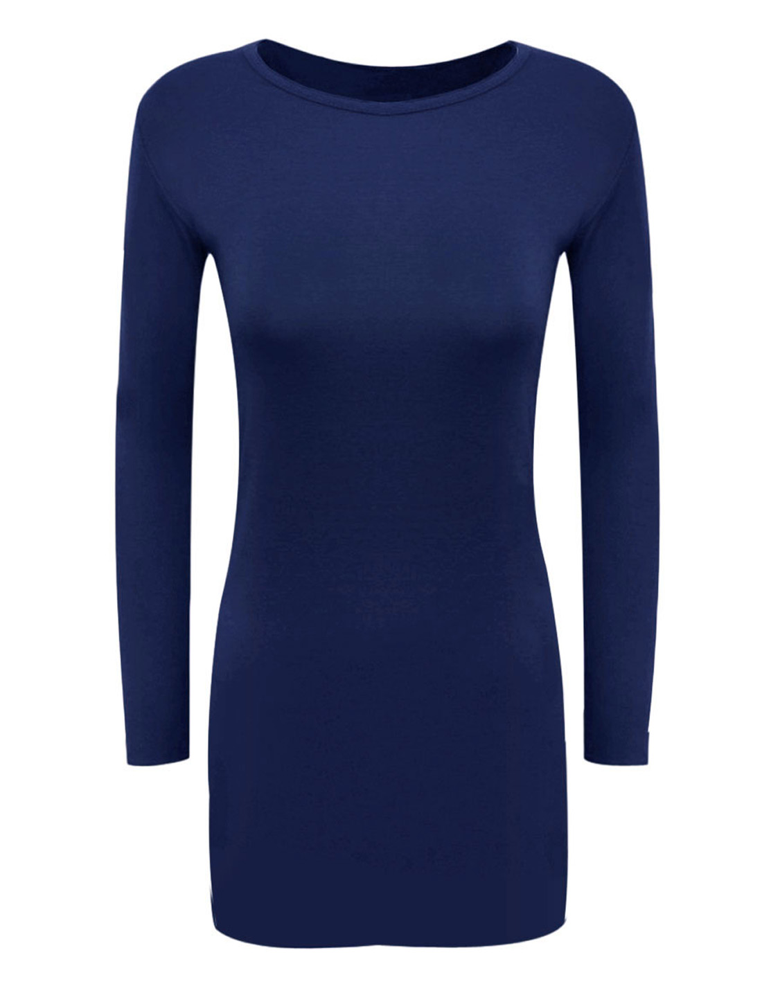 Women Round Neck Long Sleeves Pullover Leisure Sheath Dress Royal Blue M