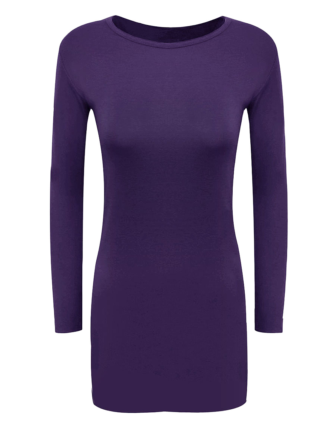 Women Round Neck Long Sleeves Slim Fit Fashion Sheath Dress Purple M