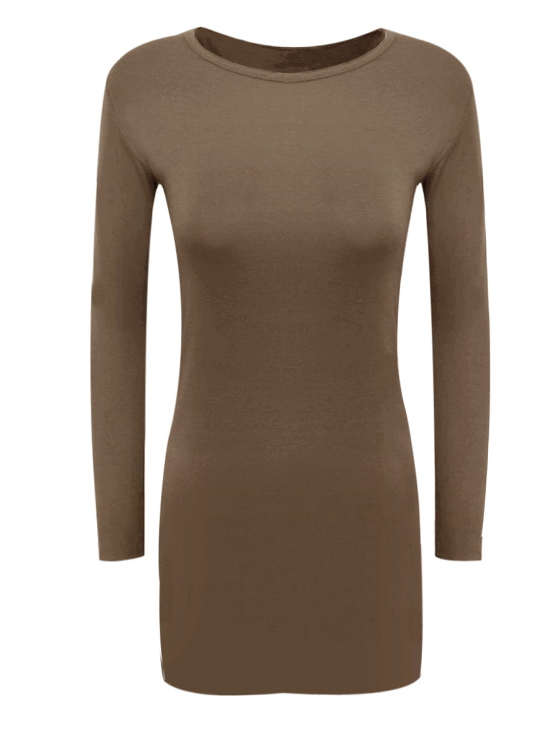Lady Round Neck Long Sleeves Unlining NEW Sheath Dress Brown M