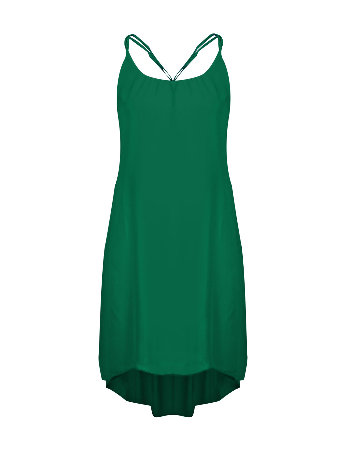 Women Sleeveless Assymetrical Hem Spaghetti Strapes Casual Chiffon Dress Green S